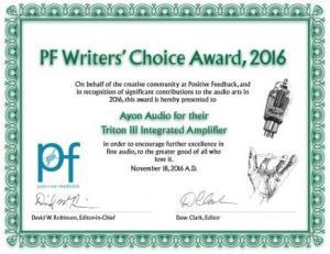 Positive Feedback-writers choice award-2016